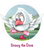Snowy the Dove carries your love-letters to your sweetheart, in the iPad Game of Love, My Love My Valentine, available on the App Store.